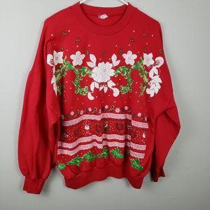 Vintage Red Ugly Christmas Holiday Sweatshirt XL